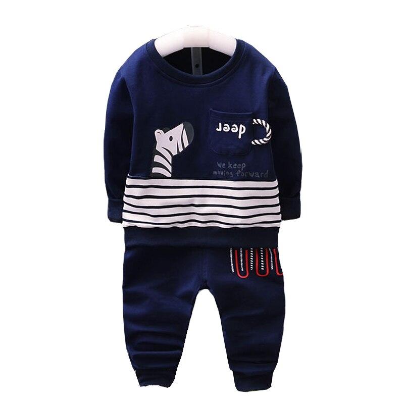 Baby Boy Girl Autumn Cotton Clothes Sets 2017 Children Pajama Suits Kids Cartoon Pullover Boys Bottoms T-Shirt Baby Pants Suits