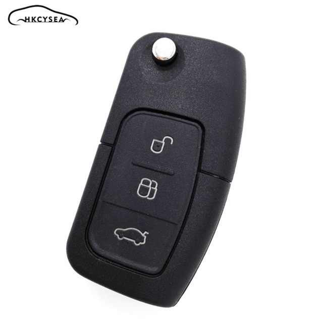 Hkcysea 3 On Replacement Flip Folding Remote Key Fob Case For Ford Focus Fiesta C Max Car Shell