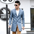 New Autumn Winter Men's Leather Windbreaker Notch Lapel Men Coat Faux Leather Mid-Length Jacket Outerwears Fashion Outfits K8839