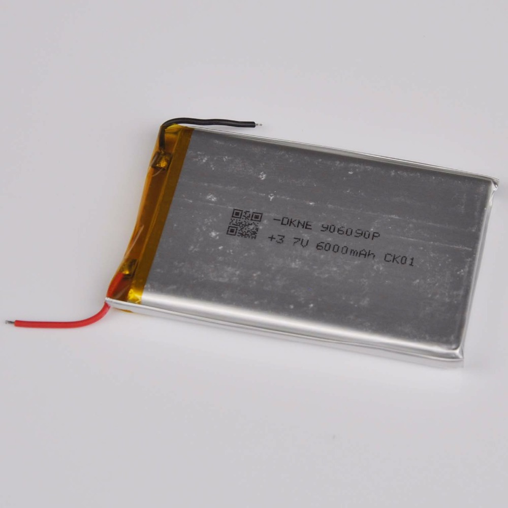 1PCS <font><b>3.7V</b></font> lithium polymer rechargeable <font><b>battery</b></font> <font><b>6000mAh</b></font> 906090 <font><b>LIPO</b></font> li ion cell for E-Book GPS DVD Power bank Tablet PC image