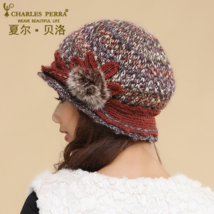 Image 5 - Charles Perra Women Hats Winter Thicken Double Layer Thermal Knitted Hat Handmade Elegant Lady Casual Wool Cap Beanies 3538