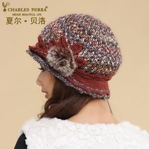 Image 5 - Charles Perra kadın şapka kış kalınlaşmak çift katmanlı termal örme şapka el yapımı zarif bayan rahat yün kap kasketleri 3538