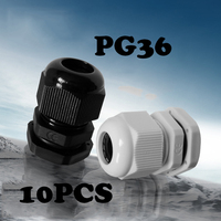 10PCS PG36 Cable waterproof joint Black Or White Plastic Connector Waterproof Cable Glands Ip68 China