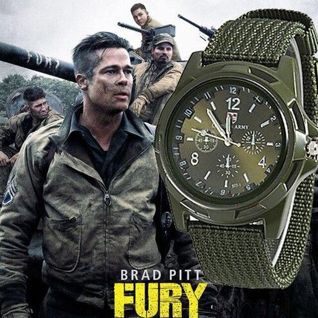 Homens de luxo Militar Do Exército Bomber Pilot Canvas Strap Sports Men Menino de Pulso Relógio Homens Nylon Analógico Relógio de Quartzo Relogio masculino