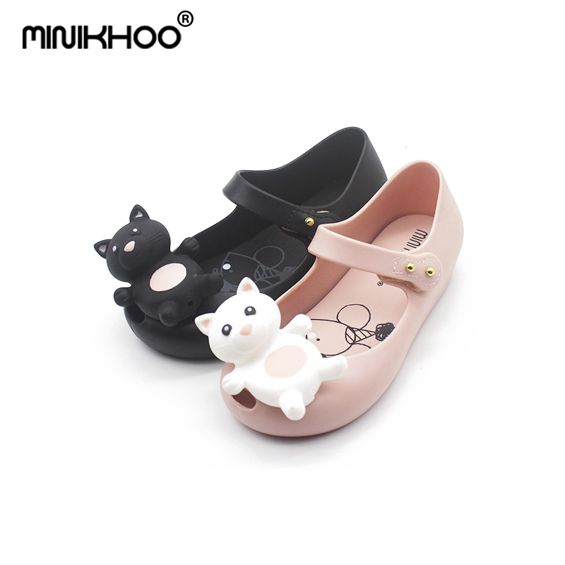 Mini Melissa Cute Bear Jelly Sandals 2018 New Children Shoes Melissa Girls Sandals Princess Flat Shoes Non-slip Kids Sandals