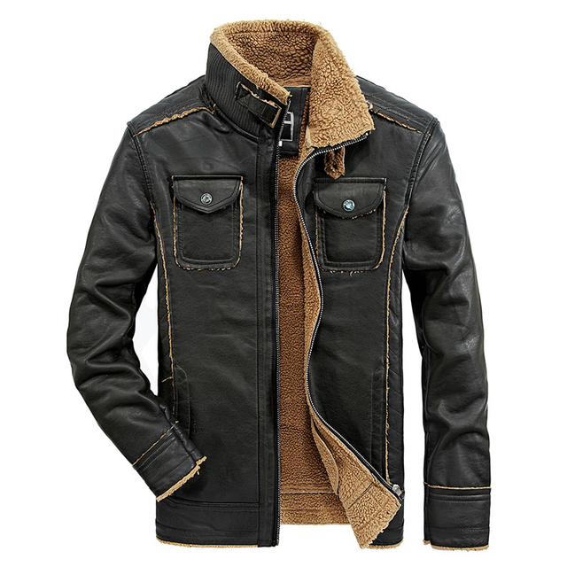 2018 New Fashion Stand Collar Men s Leather Motorcycle Jacket Vintage Thick Slim  Veste Cuir Homme ea5b7c5b404