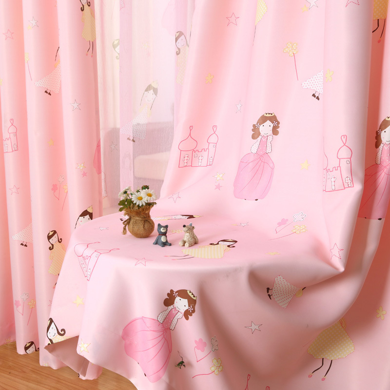 [byetee] Barn Curtain Cartoon Princess Pink Girls Baby Room Kids Blackout Gardiner För Sovrum Fönster Gardin Draperier