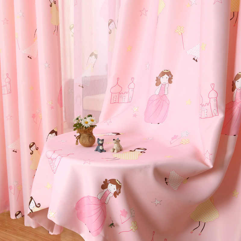 [byetee] Children Curtain Cartoon Princess Pink Girls Baby Room Kids Blackout Curtains For Bedroom Window Curtain Drapes