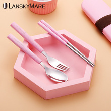 LANSKYWARE Japanese Portable Picnic Tableware Set 304 Stainless Steel Cutlery With Wheat Straw Handle Box Camping Dinnerware