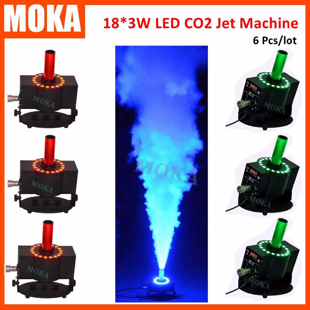 6pcs/lot LED Co2 Jet Cannon RGB Color lighting effect Co2 Cryo Disco Smoke effects Machine Party Equipment china moka stage 4piece high power 250w rgb led co2 jets disco dj co2 equipment jet cannon machine for party disco night club
