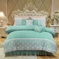 Кристалл бархат кружево постельных принадлежностей король королева двуспальная кровать комплект принцессы в Корейском стиле для девочек