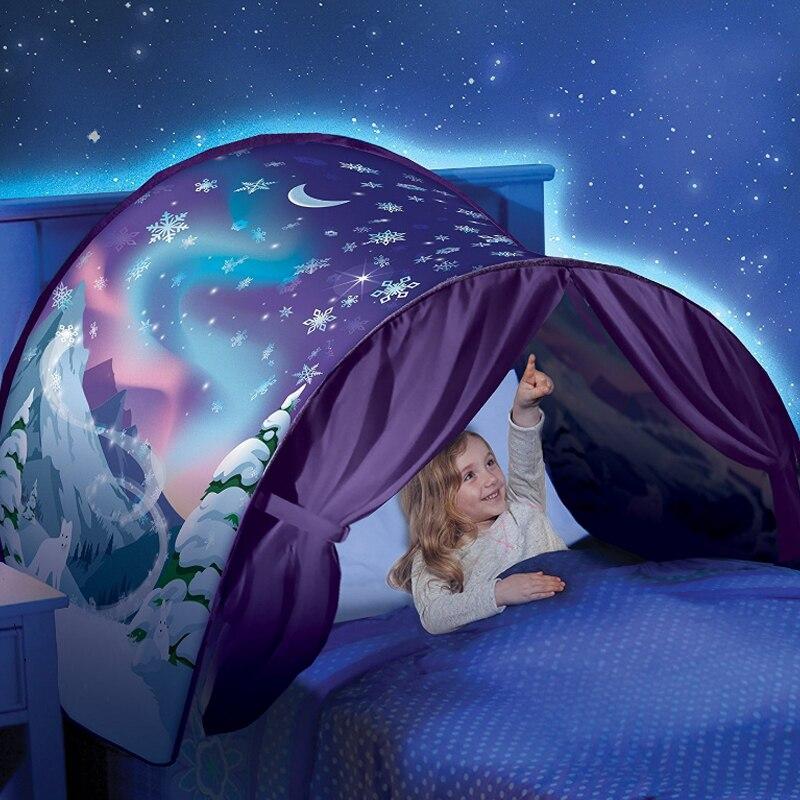 Tienda de campaña para niños para bebés tienda de cama de dibujos animados Snowy plegable Playhouse cómodo durante la noche dormir al aire libre campamento Tipi