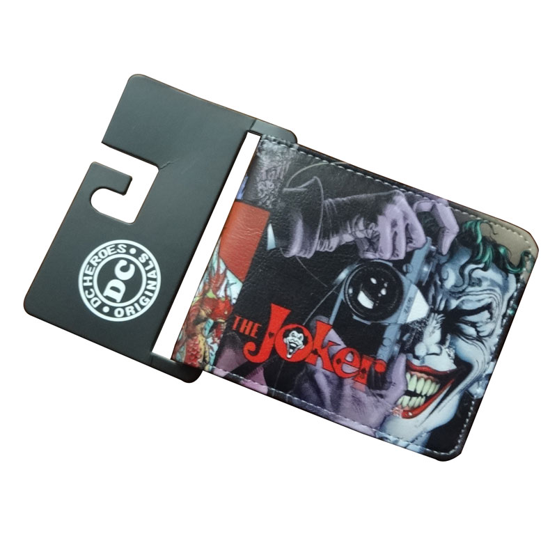 Joker Wallets Hot New Style Leather Purse Cartoon Anime Boy Girl Students Gift Dollar Bags Casual Fashion Wallet 11.5*9cm new anime wallets walking dead character leather purse gift for teenager students dollar card money bags casual short wallet