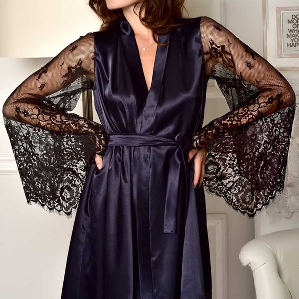 Women Robe Satin/Silk Robe Sexy Ladies Soft Lace Sleeve Casual Sleepwear Clothes Robes Newest