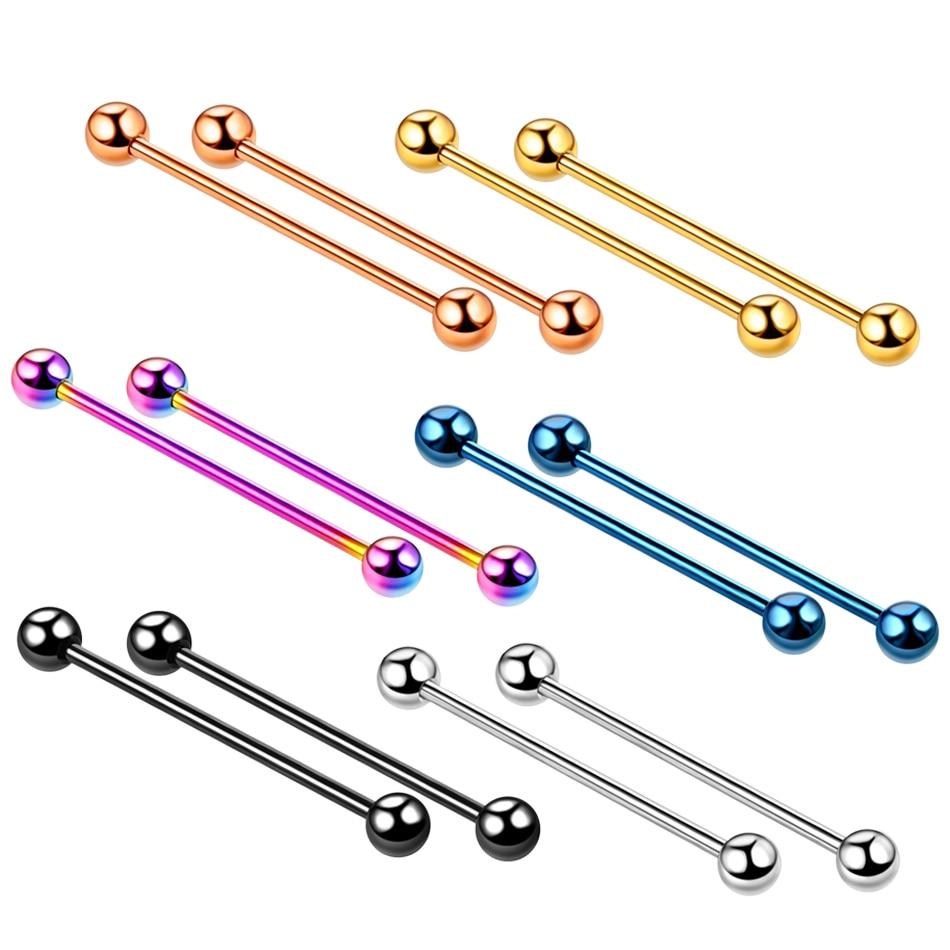 2pc Steel Piercing Industrial Earring Piercing Industrial Barbells Bar Scaffold Ear Cartilage Helix 14G Gold Body Jewelry