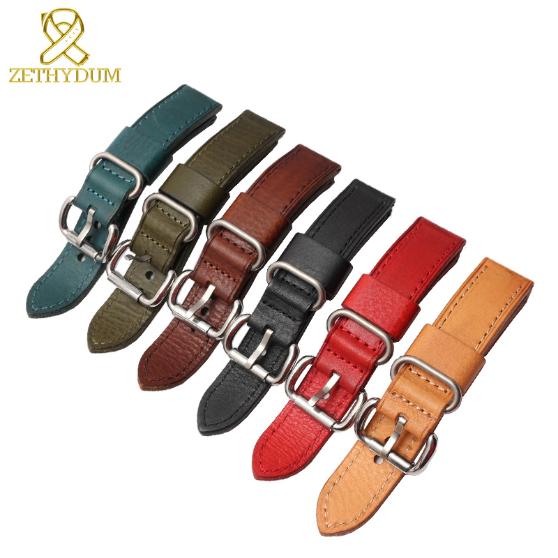 Italian Genuine leather bracelet senior watch strap Handmade watchband mens wristwatches band retro Style  22mm 24mm accessories italian visual phrase book