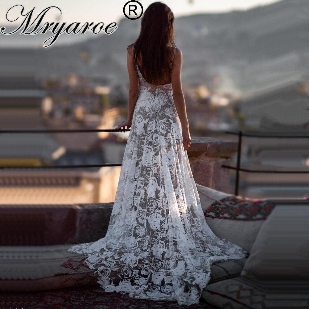 Mryarce 2019 Boho Wedding Dress Sexy Open Back Exclusive Luxury Rosette Lace Bridal Gowns Vestido De Noiva