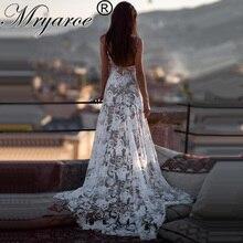 فستان زفاف بوهو من Mryarce موضة 2019 مثير مفتوح الظهر فساتين زفاف فاخرة فاخرة من الدانتيل