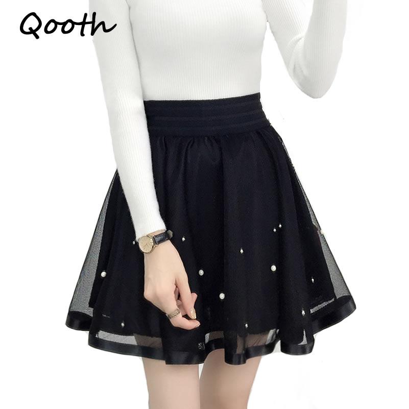 76b636178 Qooth mujeres falda Sexy Saia corto Skater Faldas para señoras negro  plisado tutú escuela falda moda Jupe vestido de baile QH980