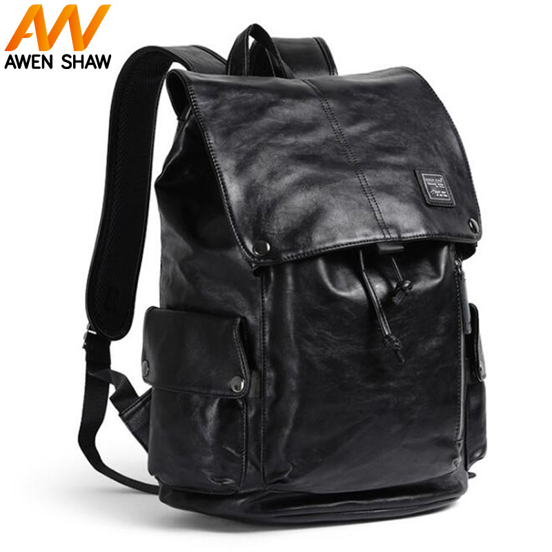 купить Black Stylish Men Backpack Drawstring Beam Design Business Laptop Bag School Backpack Bag Large Capacity Travel Men's Backpack недорого
