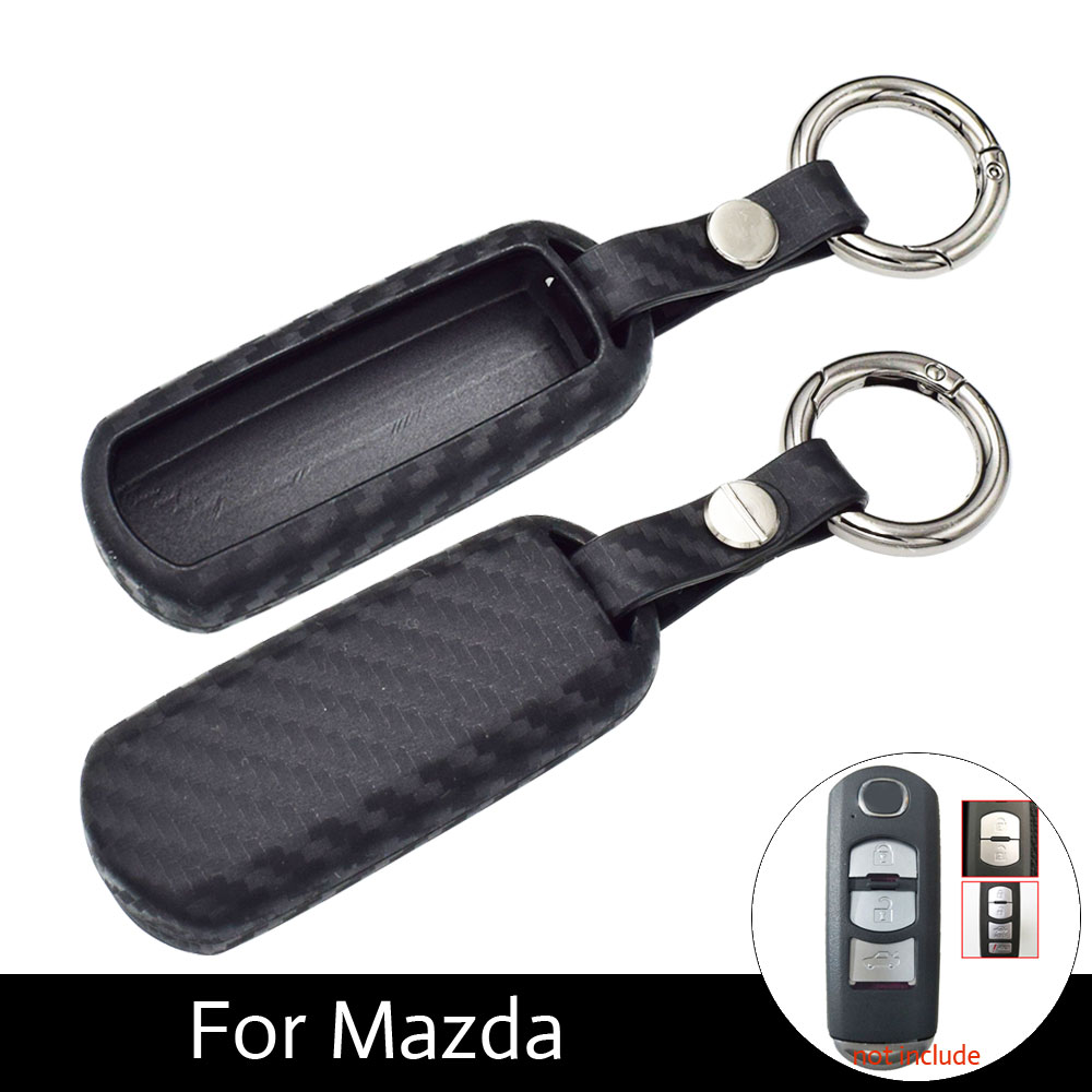 ATOBABI Soft Carbon Fiber Car Key Fob Cover Cases For Mazda 3 2 5 Mazda 6 Axela CX-3 CX-5 CX5 CX-7 CX7 CX-9 RX8 Smart Keys