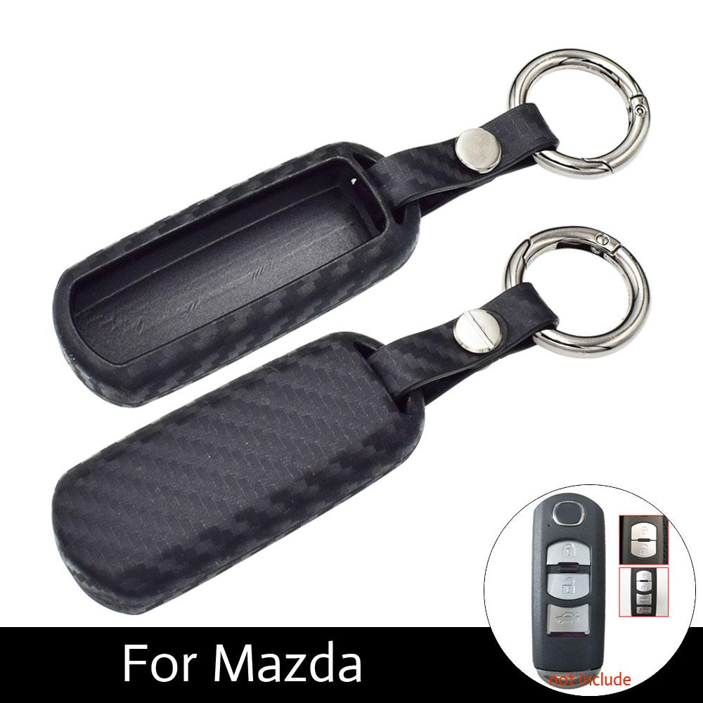 ATOBABI Soft Carbon Fiber Car Key Fob Cover Cases For Mazda 3 2 5 Mazda 6 Axela CX-3 CX-5 CX5 CX-7 CX7 CX-9 RX8 Smart Keys