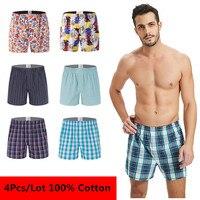 4Pcs/Lot Classic Plaid Striped Men's Boxers Cotton Mens Underwear Trunks Woven Homme Arrow Panties Boxer Plus Size 4XL 5XL 6XL Boxers