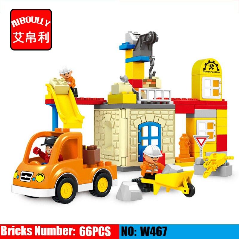 66pcs Large Particle City Building Team Construction Team Model Building Block DIY Brick Kids Toy Compatible Duploe hm136 57pcs large particle building