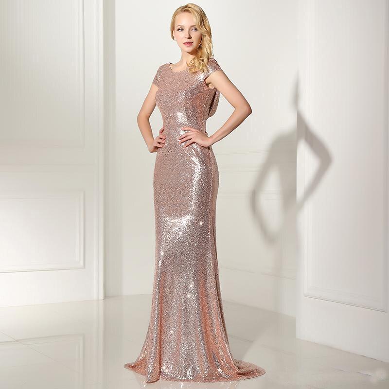 Sparkly rose gold sequin bridesmaid dresses pernikahan 2017 jewel lengan  pendek maid of honor bling bling prom dress formal gowns di Bridesmaid  Dresses dari ... 67b065812c29