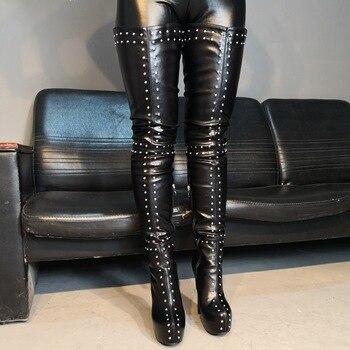 Originale Intenzione Estremamente Degli Alti Talloni Delle Donne Stivali Sexy Della Piattaforma Over-the-ginocchio Chaussures Femme Scarpe Rivetto Scarpe Da Donna di Formato 5-15
