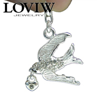 Swallow Charm Carrying A Love Heart With Lobster Clasp Silver Charms Pendant White CZ Zirconia Thomas