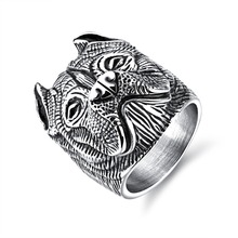 Vintage Punk Dog Stainless Steel Mens Ring steel color Boy Party Finger Jewelry accessory Gift size 7-12