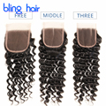 7A Malaysian Deep Curly Closure Unprocessed Virgin Malaysian Deep Wave Closure Bleached Knots 100 Curly Human Hair weave Closure