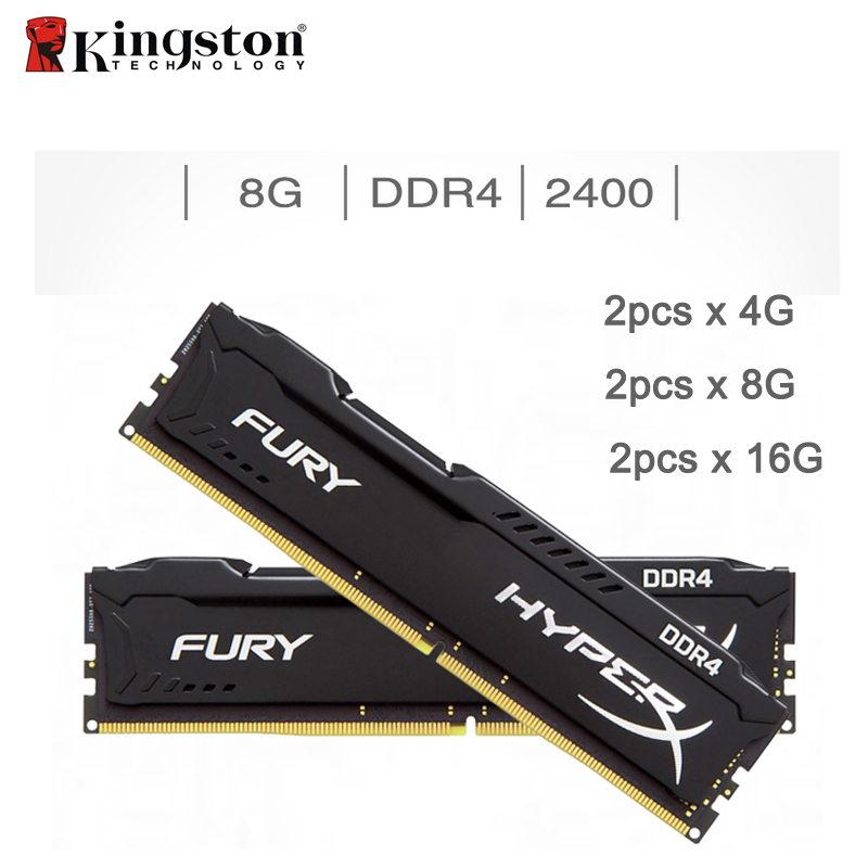 Kingston HyperX FUREUR 4 GB 8 GB 16 GB DDR4 2400 MHz PC mémoire ram DIMM 288 broches ram de bureau mémoire interne RAM Pour Ordinateur Jeux Ram