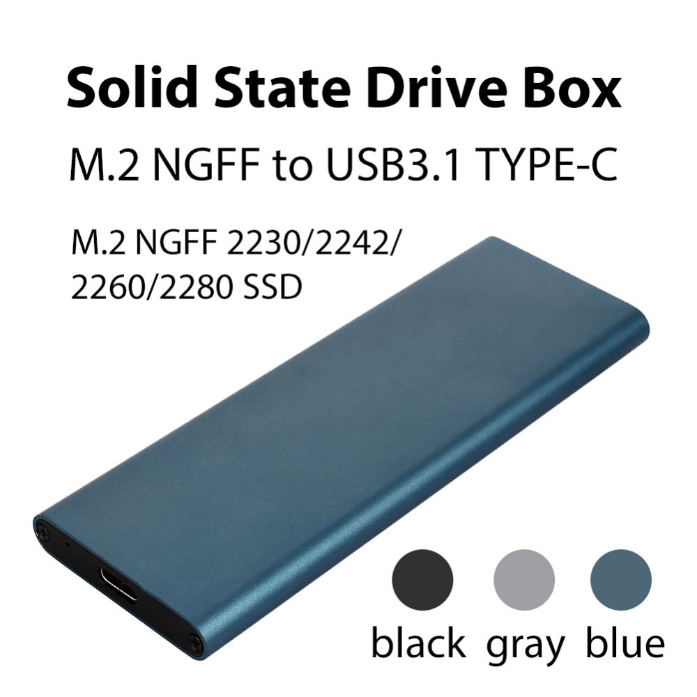 SSD Hard Disk Box Aluminum Alloy M.2 NGFF To USB3.1 Type-C High Speed External Enclosure Hard Drive Cases for Laptop Desktop