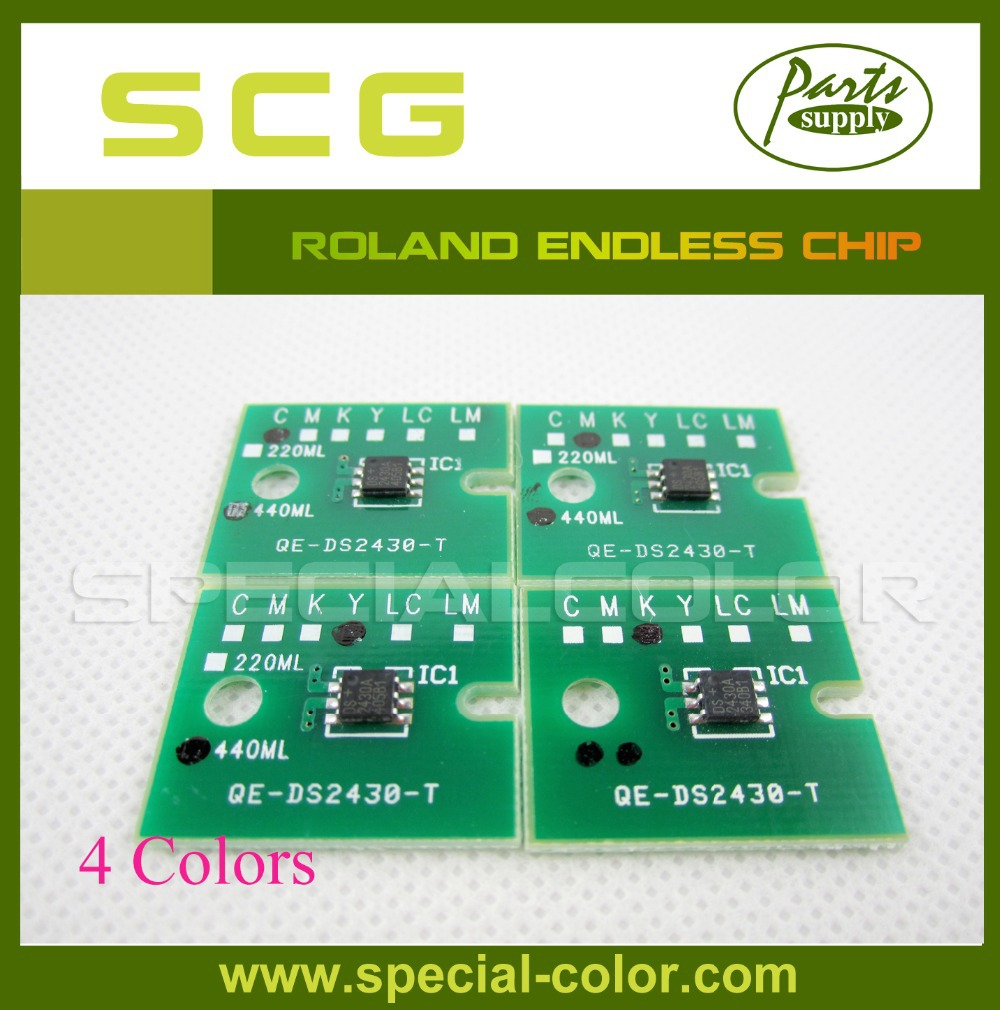 On Sale!! 4 color/Set Printer Endless Chip for Roland Refill ink cartridge