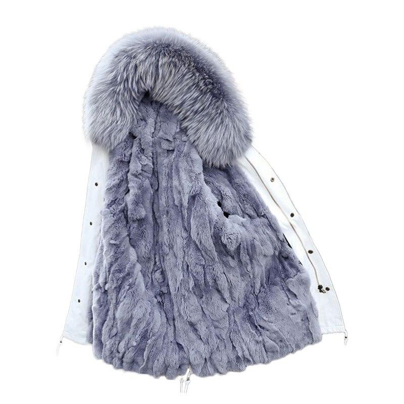 Xlong съемный кролик Мех животных Linner зимние женские пальто 2018 Теплый Полный натуральный куртка с капюшоном Женский