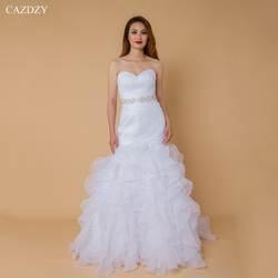 CAZDZY Новое поступление без рукавов из органзы свадебное платье без бретелек Русалка оборками Винтаж свадебное платье Vestido De Noiva
