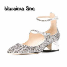 Moraima Snc cut-out low heels mary janes shoes women wedding shoes 2018 women  pumps bling bling sliver party shoes girls buckle 2f0667b2a2eb