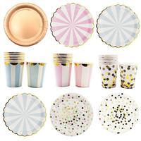 Verjaardag Bruiloft Decoraties Hot stamping Goud Roze Papier Streep Papier Cup Plaat Vlag Voor kids Baby Shower Jongen Meisje gift