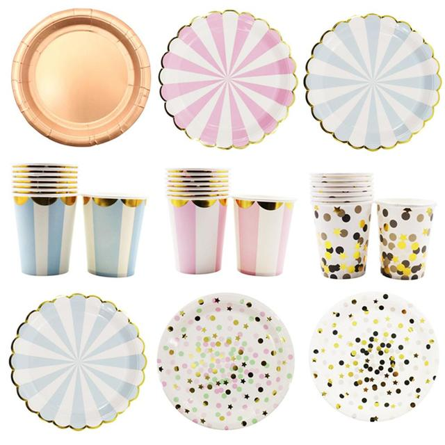 Birthday Wedding Party Decorations Hot stamping Gold Pink Paper Stripe Paper Cup Plate Flag For kids
