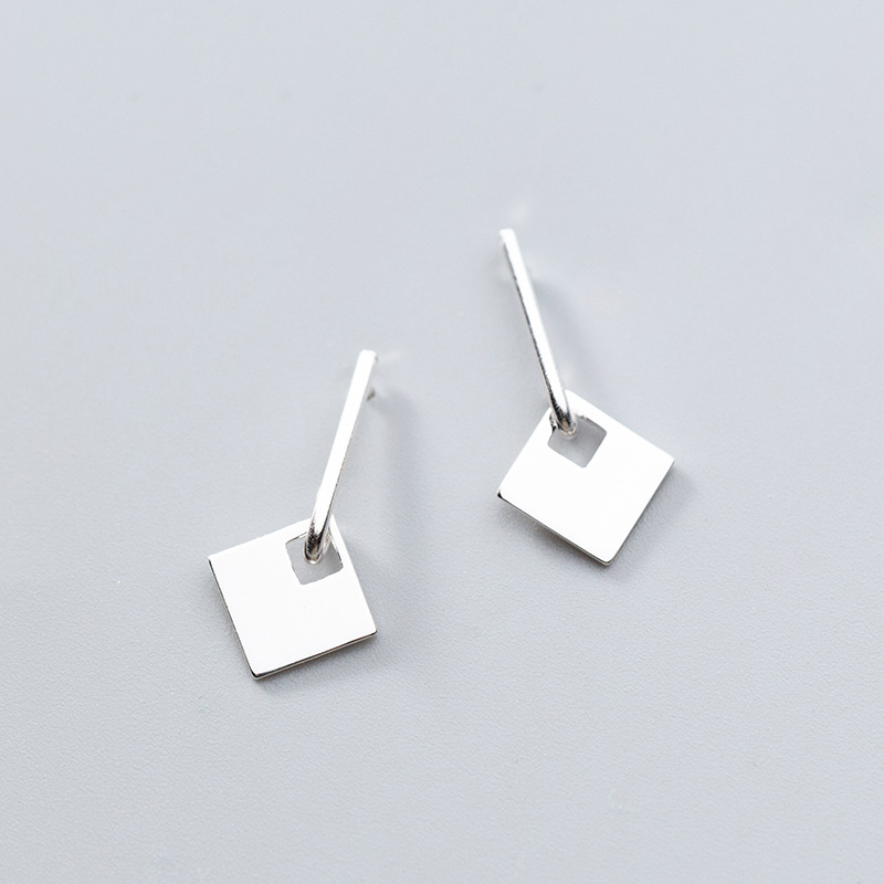 1d5a17a54 Detail Feedback Questions about MloveAcc Solid 100% 925 Sterling Silver  Geometric Square Charm Stud Earrings for Women Fashion sterling silver  jewelry on ...