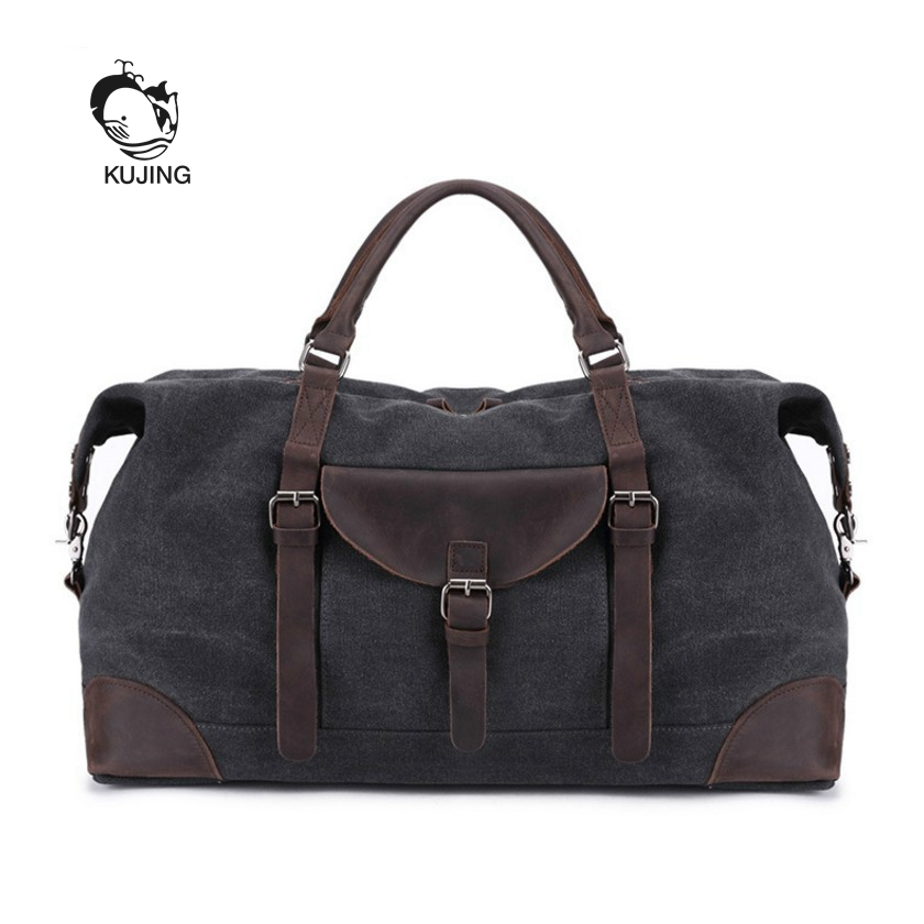 KUJING Leather Men's Bag Luxury Large-capacity Travel Handbag High-quality Canvas Shoulder Messenger Bag High-end Casual Men Bag kujing canvas men s bag high quality cowboy large capacity travel men handbag retro shoulder messenger bag luxury men casual bag