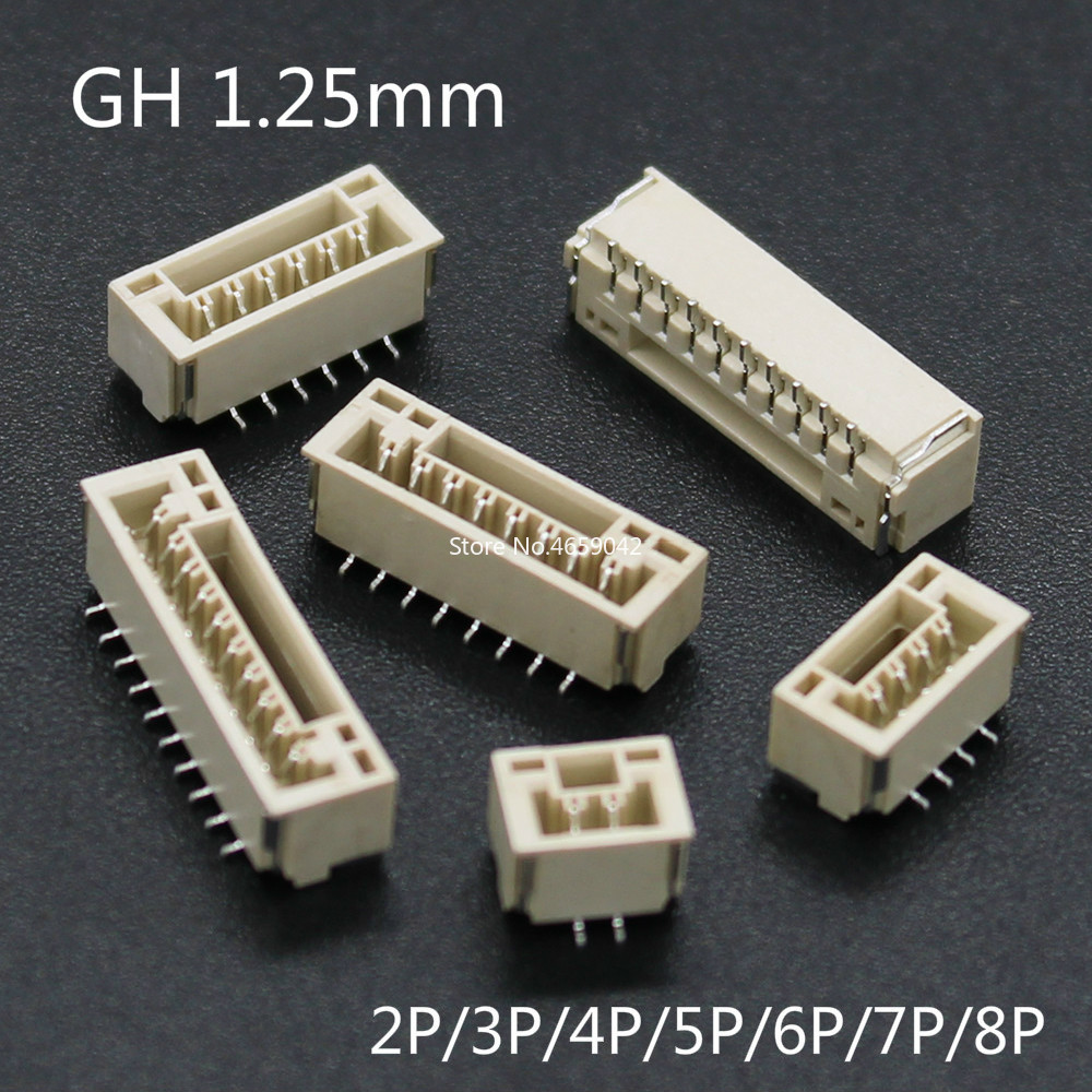 50PCS GH 1.25MM Connector SMT Vertical Type With Buckle JST A1257 2/3/4/5/6/7/8P