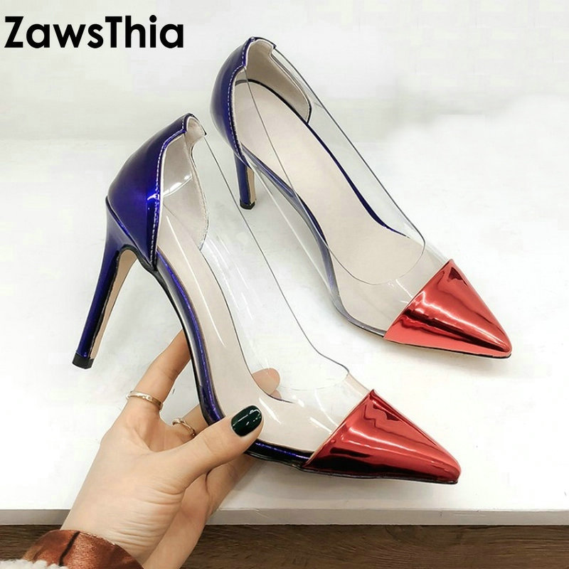 ZawsThia 2019 patent PU transparent PVC jelly shoes sexy wedding woman shoes thin high heels office pumps big size 42 43 44 45ZawsThia 2019 patent PU transparent PVC jelly shoes sexy wedding woman shoes thin high heels office pumps big size 42 43 44 45