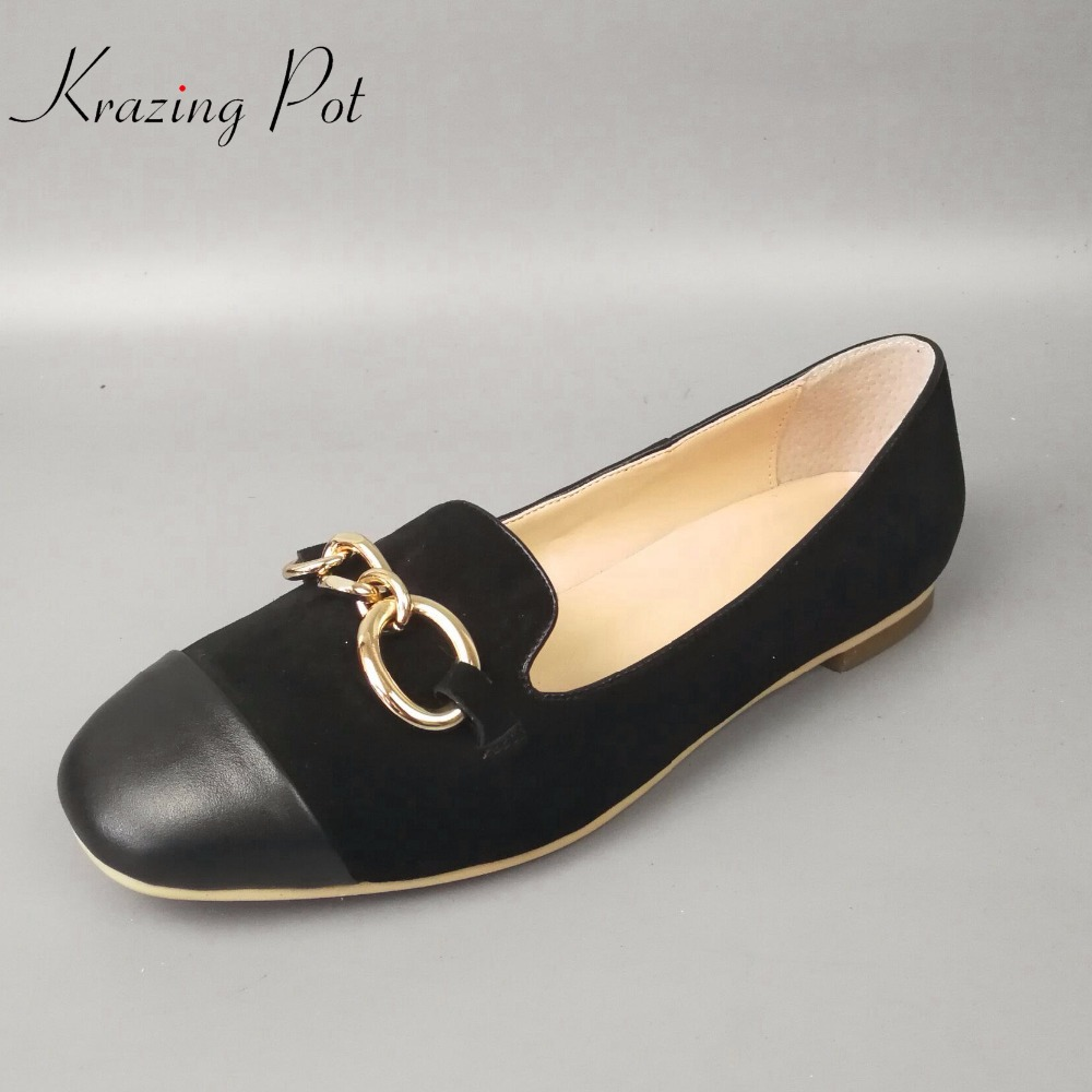 Krazing pot flats round toe metal chain brand casual genuine leather slip on loafers fashion pregnant mixed color lazy shoes L98 2017 brand new fashion spring women big head shoes slip on loafers round toe casual shoes flats leather shallow boat shoes xa 87