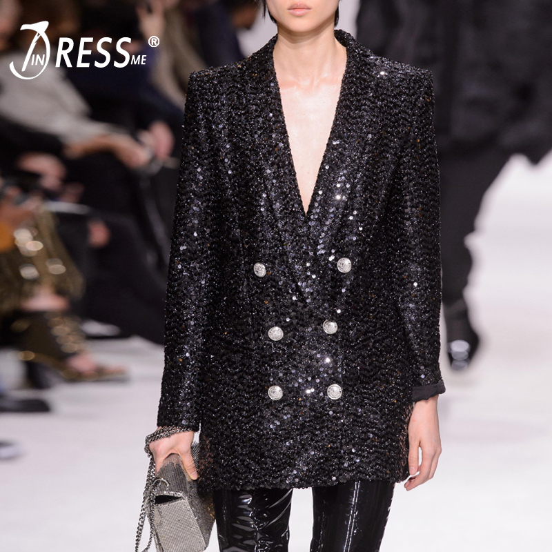 INDRESSME 2019 New Women Fashion Sequins Deep V Double Breasted Dress Long Sleeve Party Club Sexy Jacket Office Lady Solid