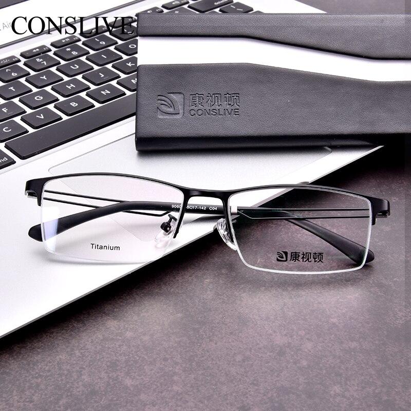 Men Prescription Glasses Myopia Near Sight Half Rimless Titanium Dioptric Glasses Men Astigmatism Eyeglasses 9060