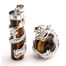 Trendy-beads Silver Plated Chinese Dragon Wrap Natural Tiger Eye Stone Pillar and Round Bead Pendant