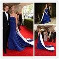 Mgc12 elegante vestidos celebridade Met Gala Strapless azul e branco Ivanka Trump robe de soirée vestidos de festa